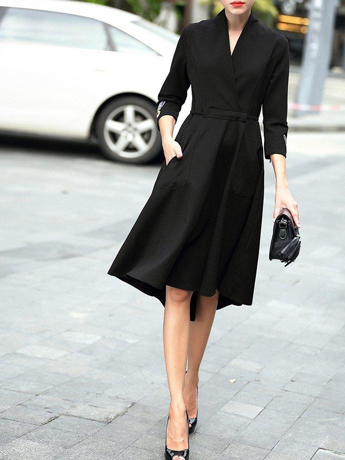 b0dbf7a1c51c V neck Black A-line Daily Casual 3 4 Sleeve Asymmetric Solid Midi Dress