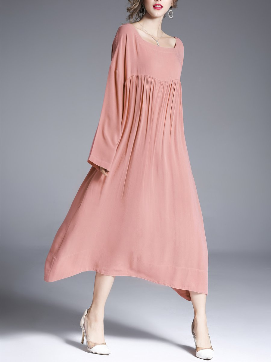 9d60f3a40fd Stylewe Square neck Linen Dress Shift Dress Long Sleeve Cotton Solid ...