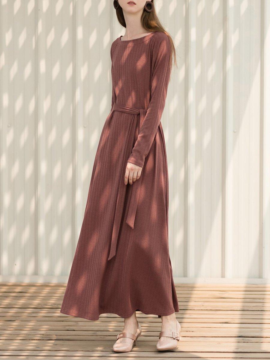 970d78d29c Casual Plain Crew Neck Long Sleeve Knitted Maxi Dress - StyleWe.com