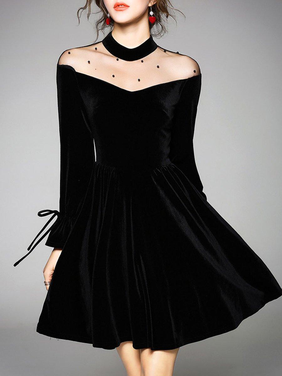 Stylewe Plus Size Stand Collar Midi Dress Blouson Daily