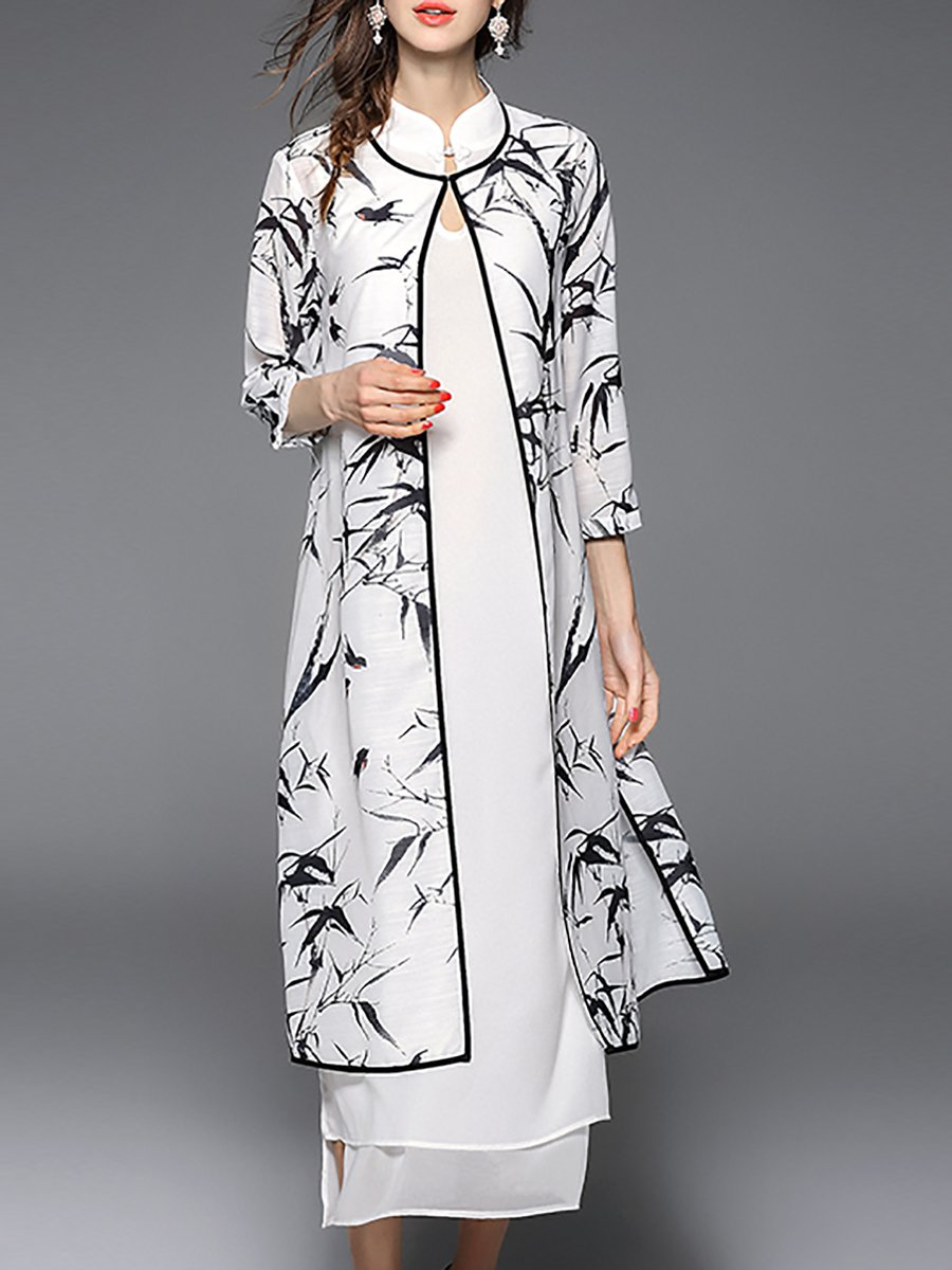 Stylewe And Just Fashion Now: Black-white Leaf Elegant Stand Collar Midi Dress