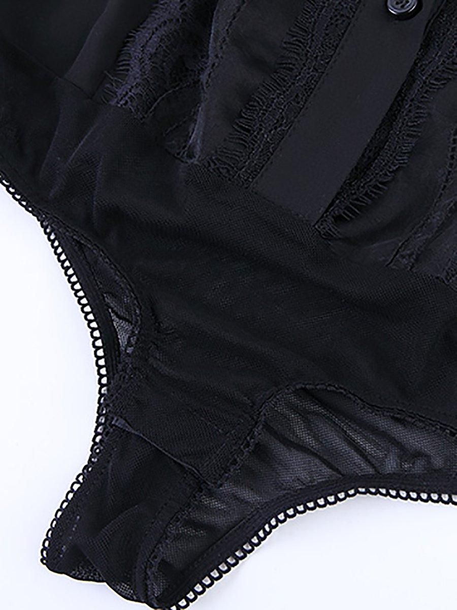 7fce29159af08f Turtleneck Elegant Guipure lace Paneled Blouses - StyleWe.com
