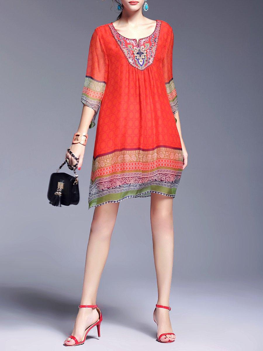 fd0b5b926f Stylewe Midi Dress A-line Daytime Dress 3/4 Sleeve Boho Embroidered ...
