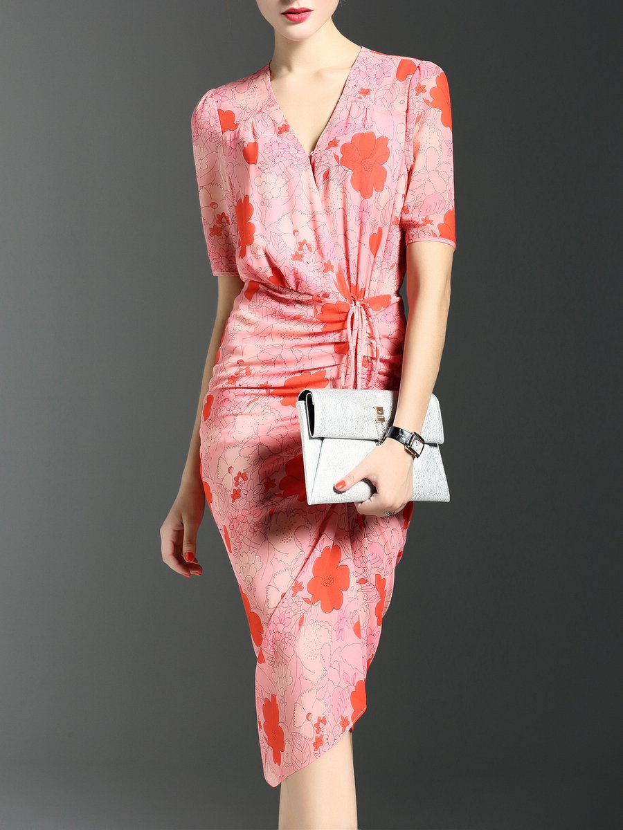 Stylewe And Just Fashion Now: Stylewe V Neck Pink Midi Dress Bodycon Daily Dress Short