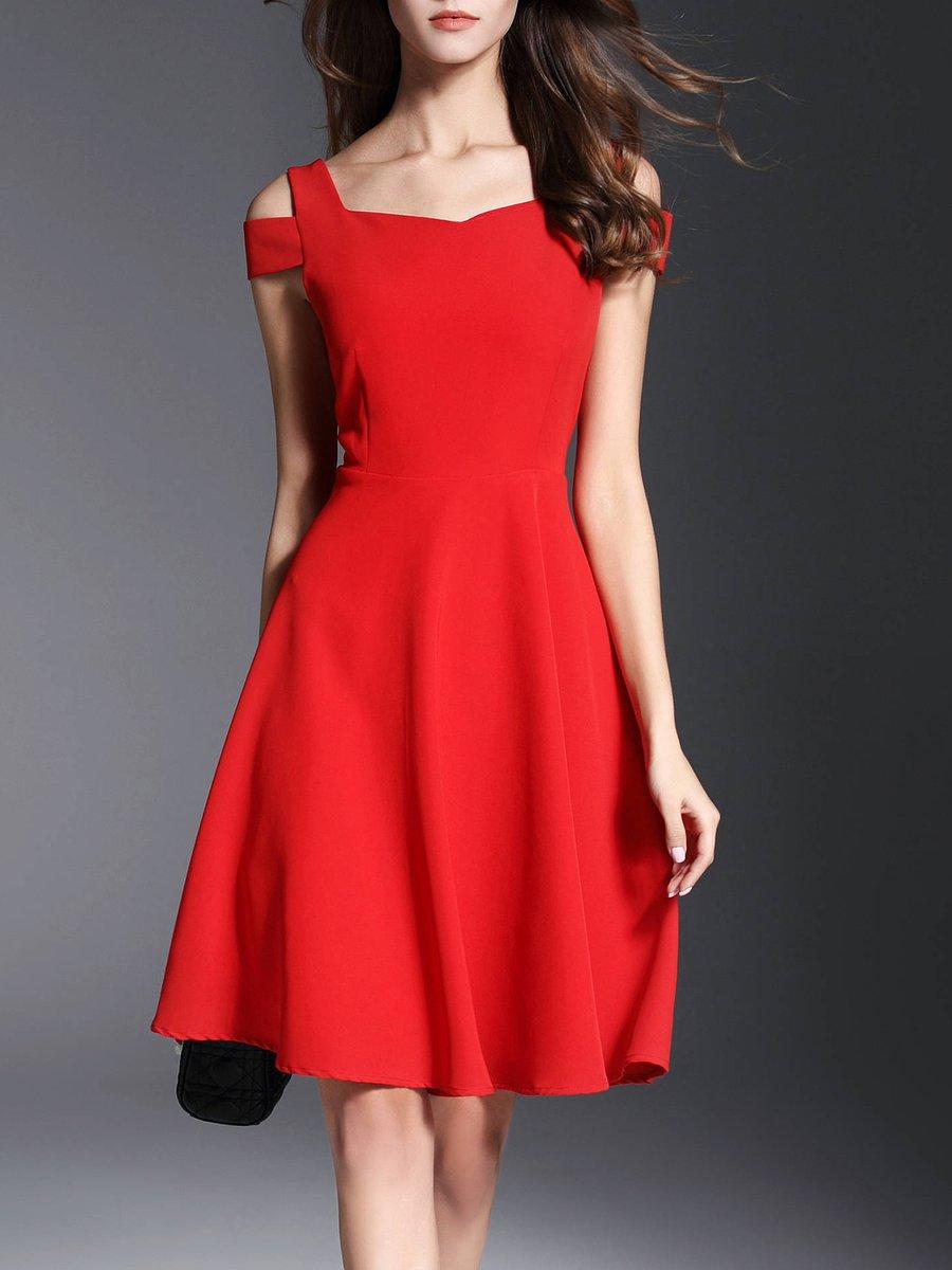 a6df8646d46a Stylewe Cold Shoulder Midi Dress A-line Party Dress Short Sleeve Elegant  Solid Dress