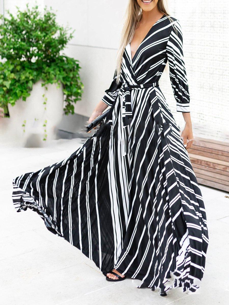 Black-white Swing Elegant Striped V neck Folds Maxi Dresses ...