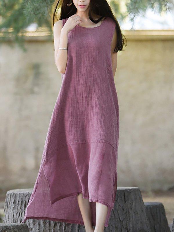 1a477b1cbc Stylewe Linen Dress Daily Dress Sleeveless Casual Cotton Solid Dress