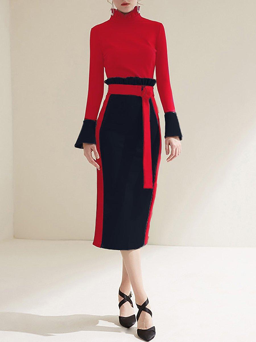 Stylewe Plus Size Ruffled Midi Dress Sheath Daily Dress