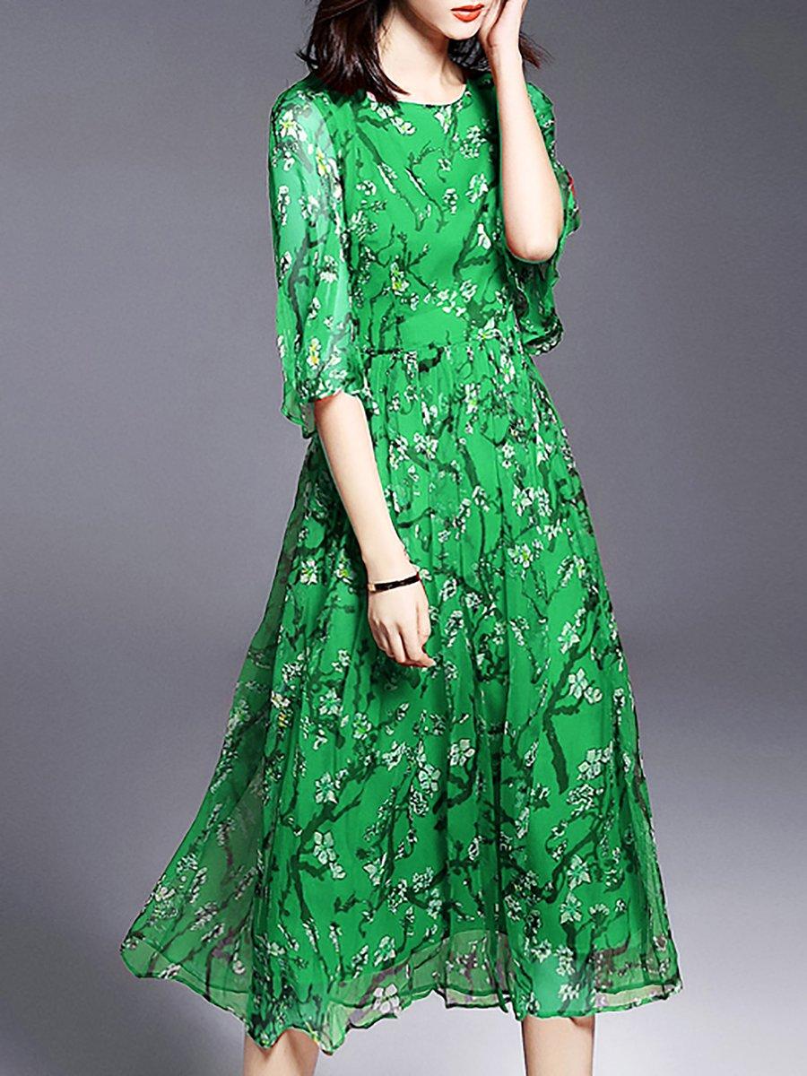 Stylewe Midi Dress Beach Dress Bell Sleeve Vintage Printed