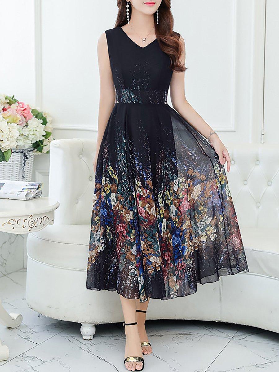 1b7dcf1e2c1 Stylewe Summer Dresses Casual Dresses Daytime A-Line V Neck Printed ...