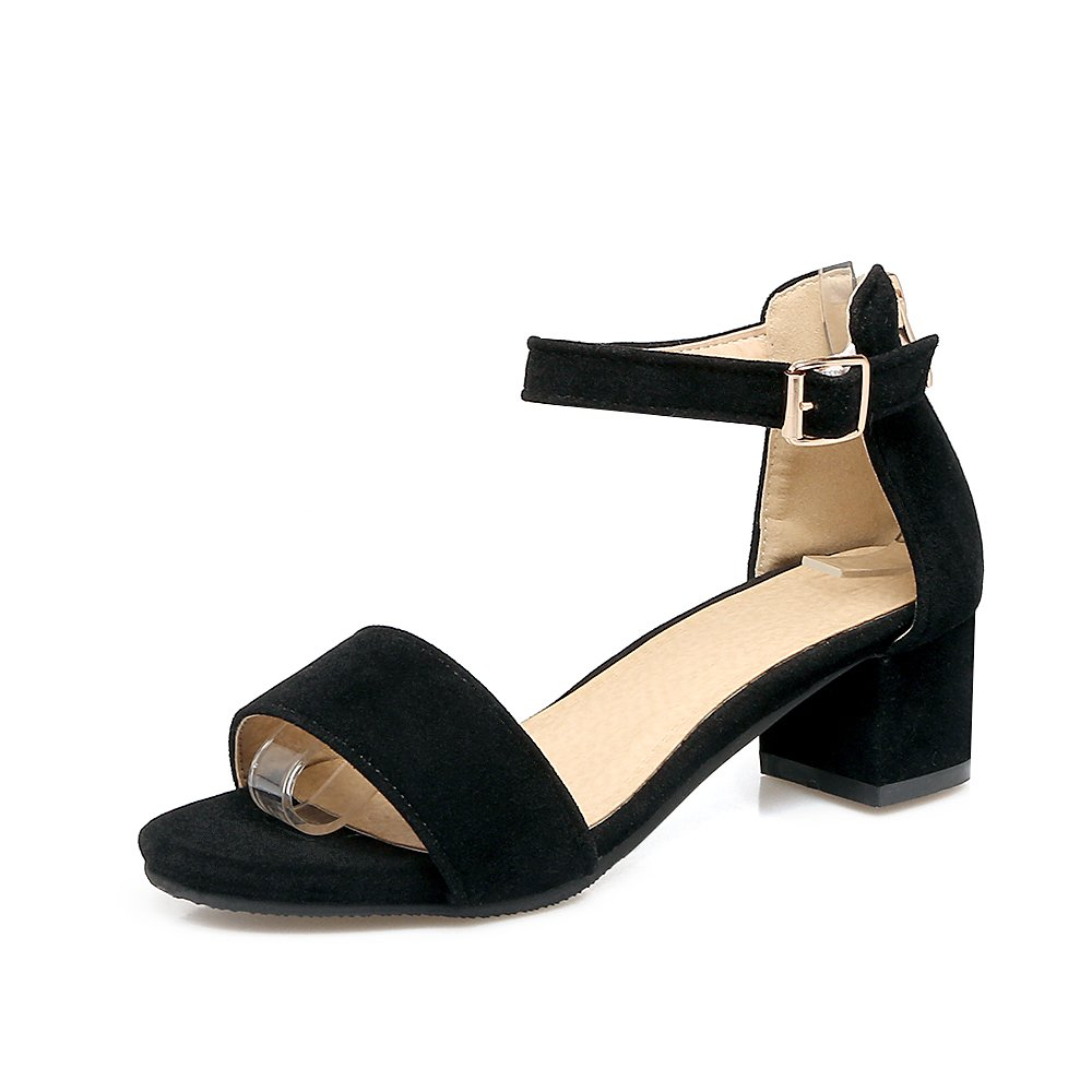 2a9726eb3 Suede Buckle Zipper Open Toe Chunky Sandals - StyleWe.com