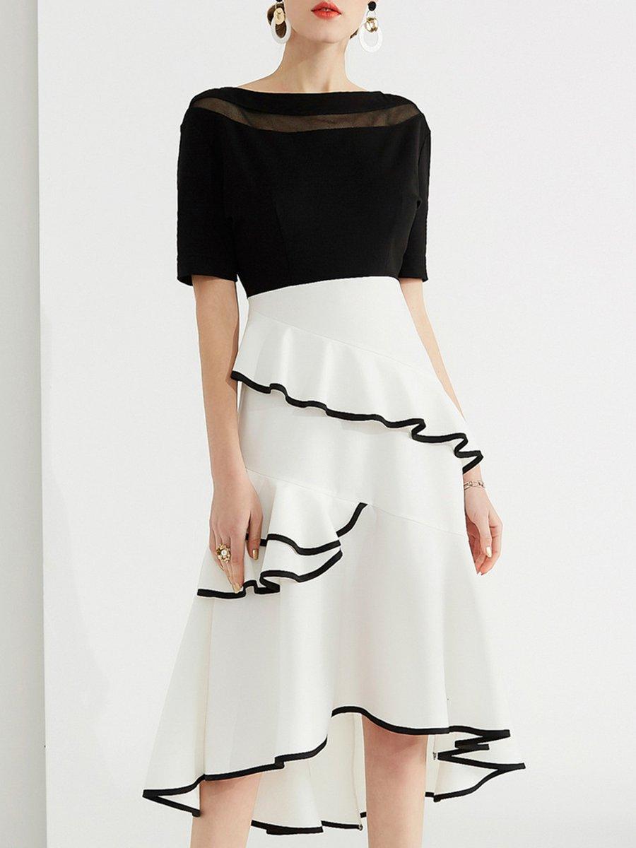 Stylewe Bateau boat neck Black-white Midi Dress Asymmetrical Party Dress  Short Sleeve Party Paneled Dress bbbcbefb23d2