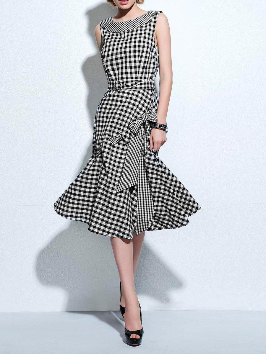 0fea968657d Stylewe Plus Size Midi Dress A-line Date Dress Sleeveless Holiday ...