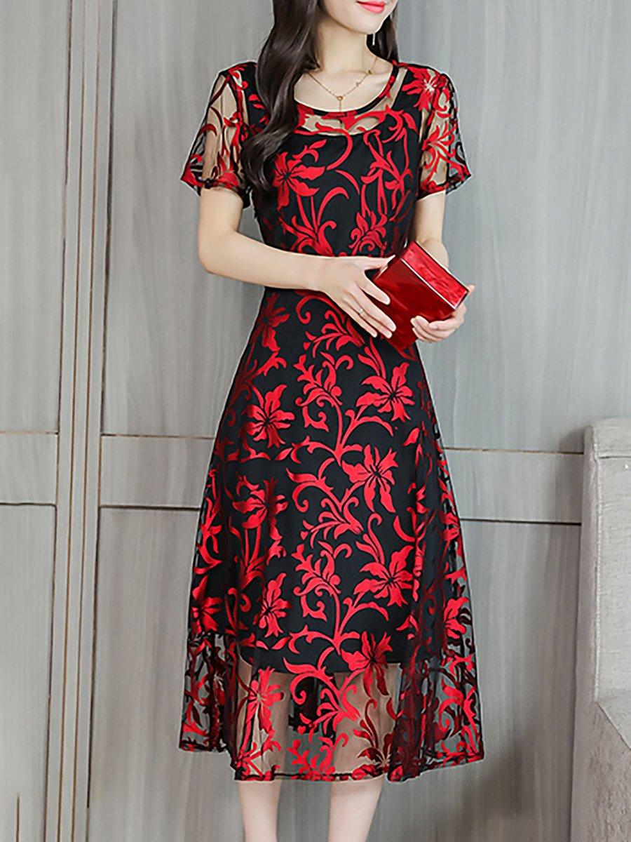 f9675429586c Stylewe Midi Dress A-line Date Dress Short Sleeve Chiffon Jacquard ...