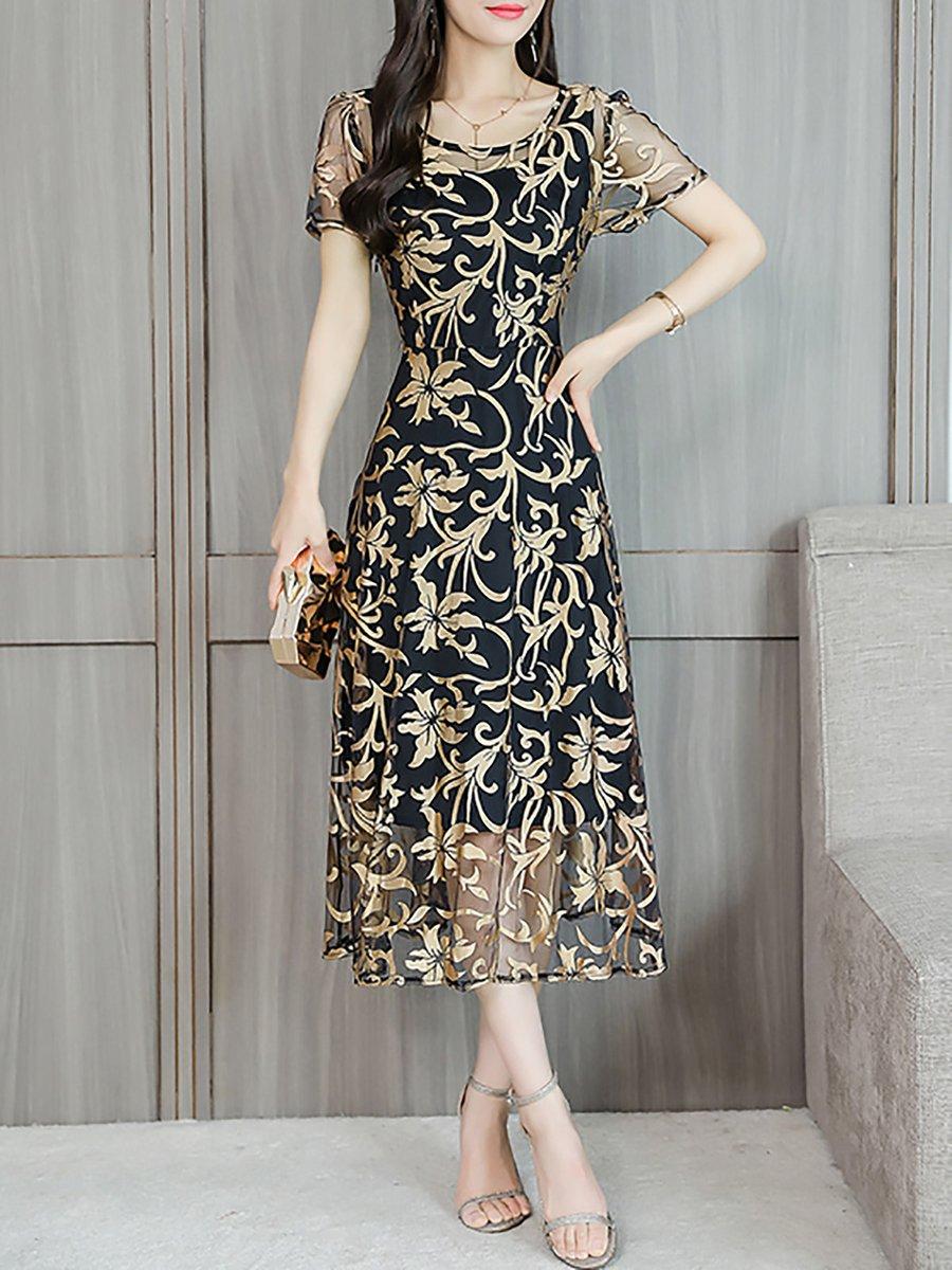 29e7e37c344 Stylewe Midi Dress A-line Date Dress Short Sleeve Chiffon Jacquard ...