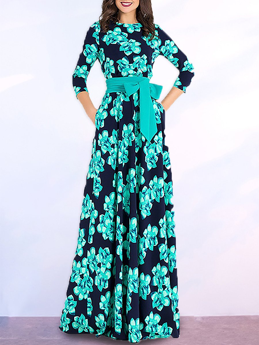 Stylewe Dark blue Maxi Dress Party Dress 3/4 Sleeve Bow Floral Dress