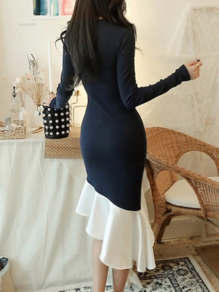 66c8ac57683e Midi Dress Mermaid Date Long Sleeve Sexy Dress - StyleWe.com