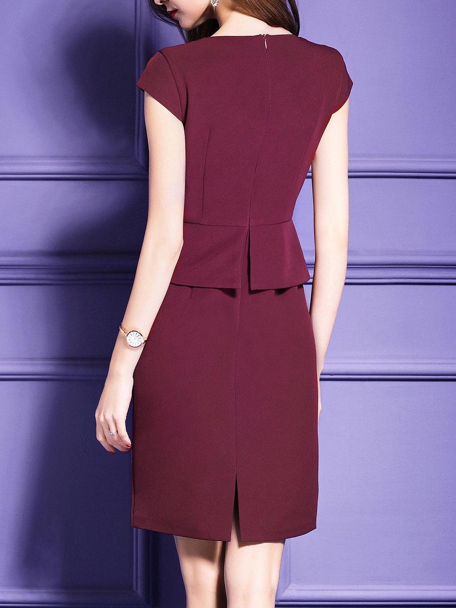 Dress Square Double Thai 100 Viscose: Stylewe Square Neck Midi Dress Sheath Date Dress Short