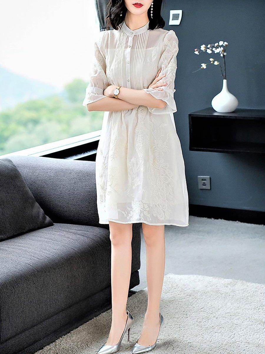 Stylewe Plus Size Dark Blue Midi Dress Shift Daytime Dress
