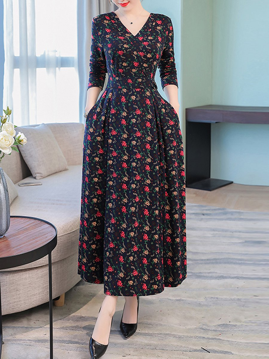 8fe39197c40 Stylewe Plus Size V neck Multicolor Maxi Dress Shift Daytime Dress 3 ...