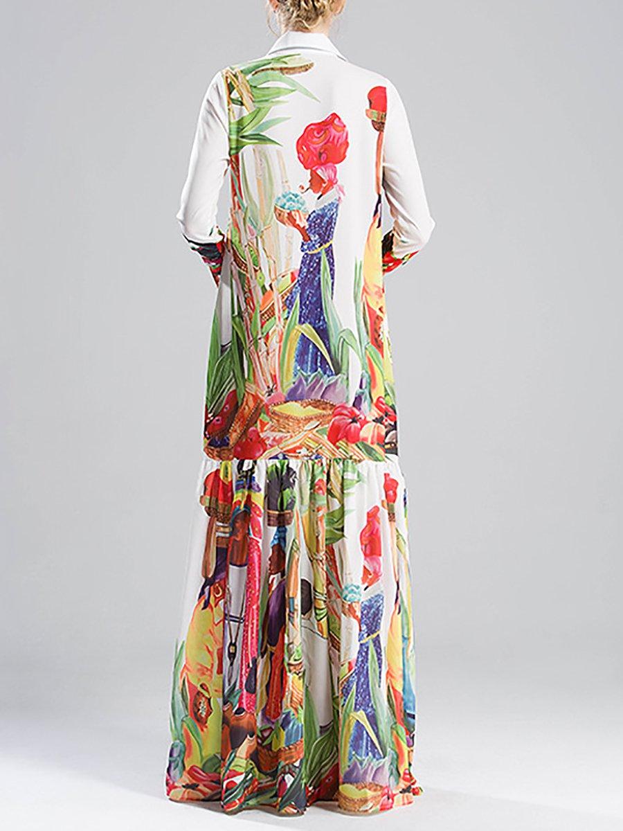25ae4fc3107 Stylewe Plus Size Shirt Collar Multicolor Maxi Dress Swing Beach ...