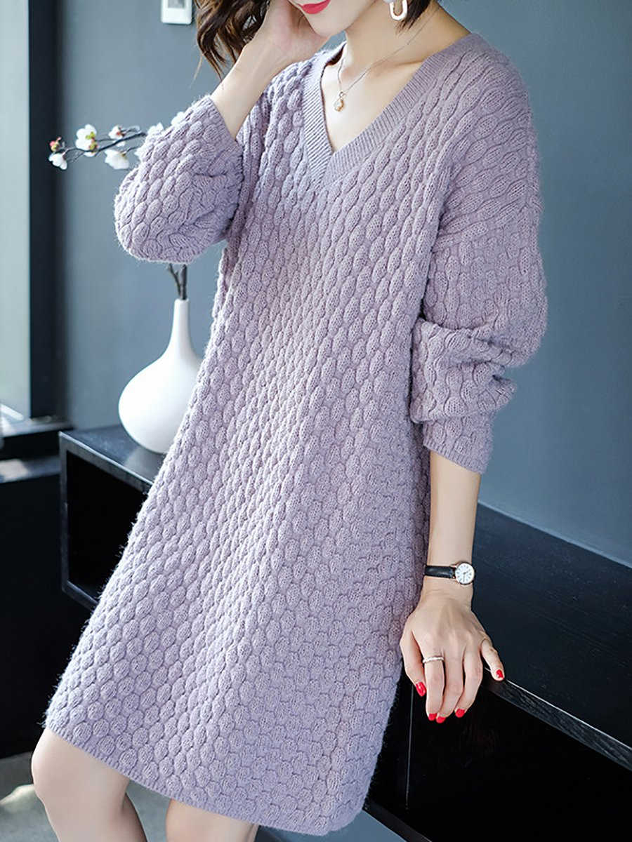 db3de078a44 V neck Casual Long Sleeve Wool Cable Sweater Dress - StyleWe.com
