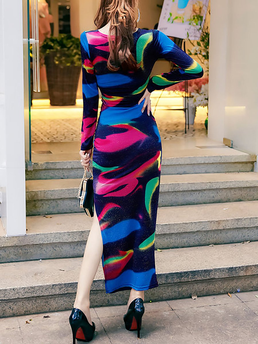 Promo Multi Coloured Reign Vintage Part 20 Update 2018 Floral Print Womenamp039s Bohemian Chiffon Long Maxi Floor Length Dress Printed Abstract Elegant Sleeve V Neck Bodycon Slit