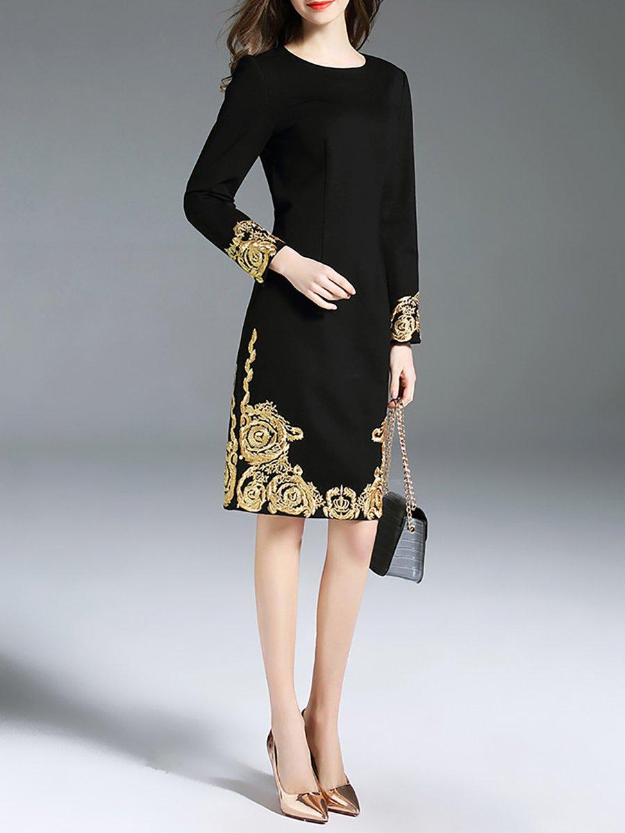4754ad6b8594 Black-Gold Sheath Tribal Embroidered Long Sleeve Midi Dress ...