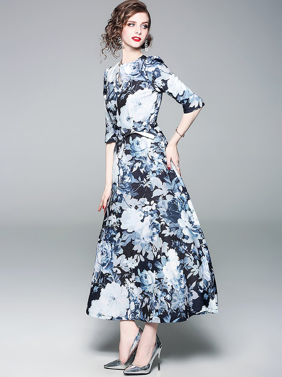Dark Blue Elegant Printed Floral A-line Maxi Dress - StyleWe.com