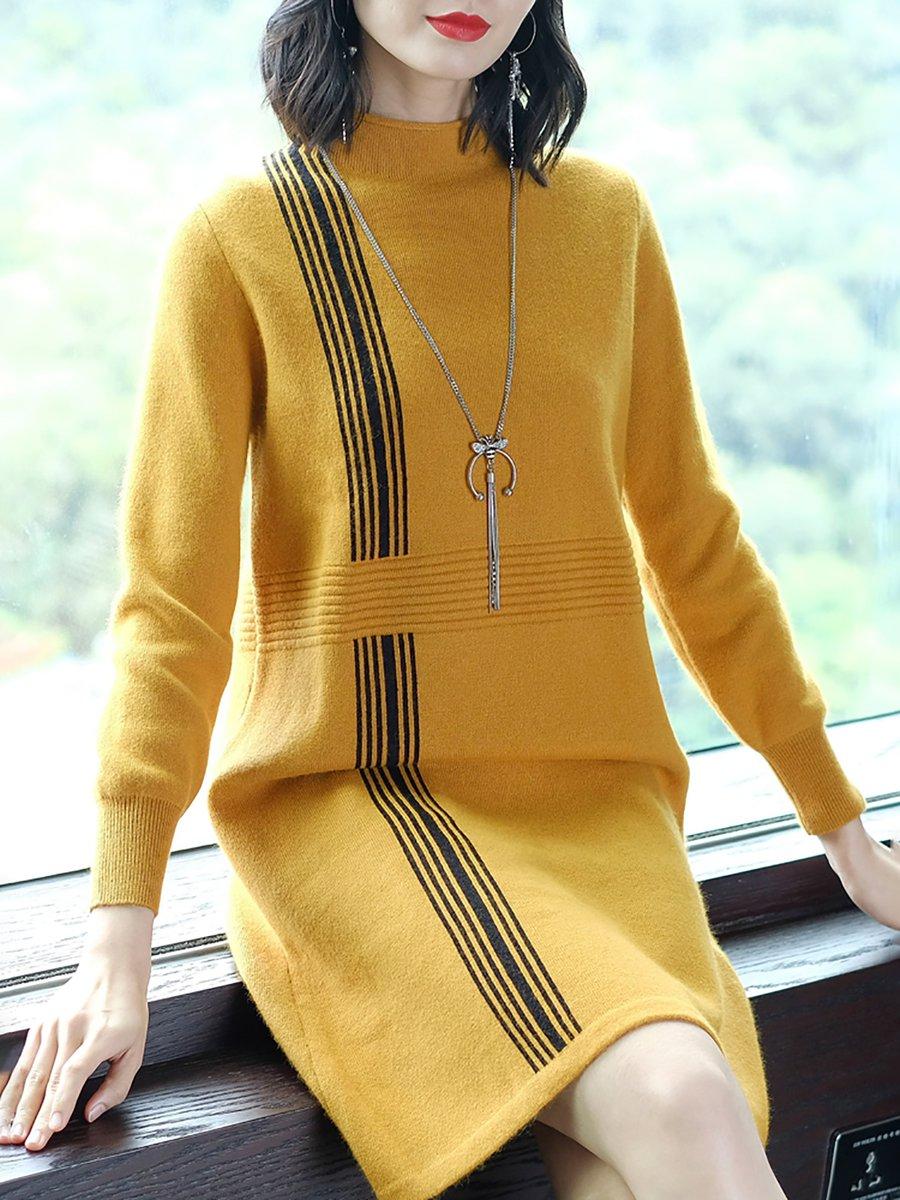 029b722a8525 Yellow Casual Shift Long Sleeve Sweater Dress - StyleWe.com