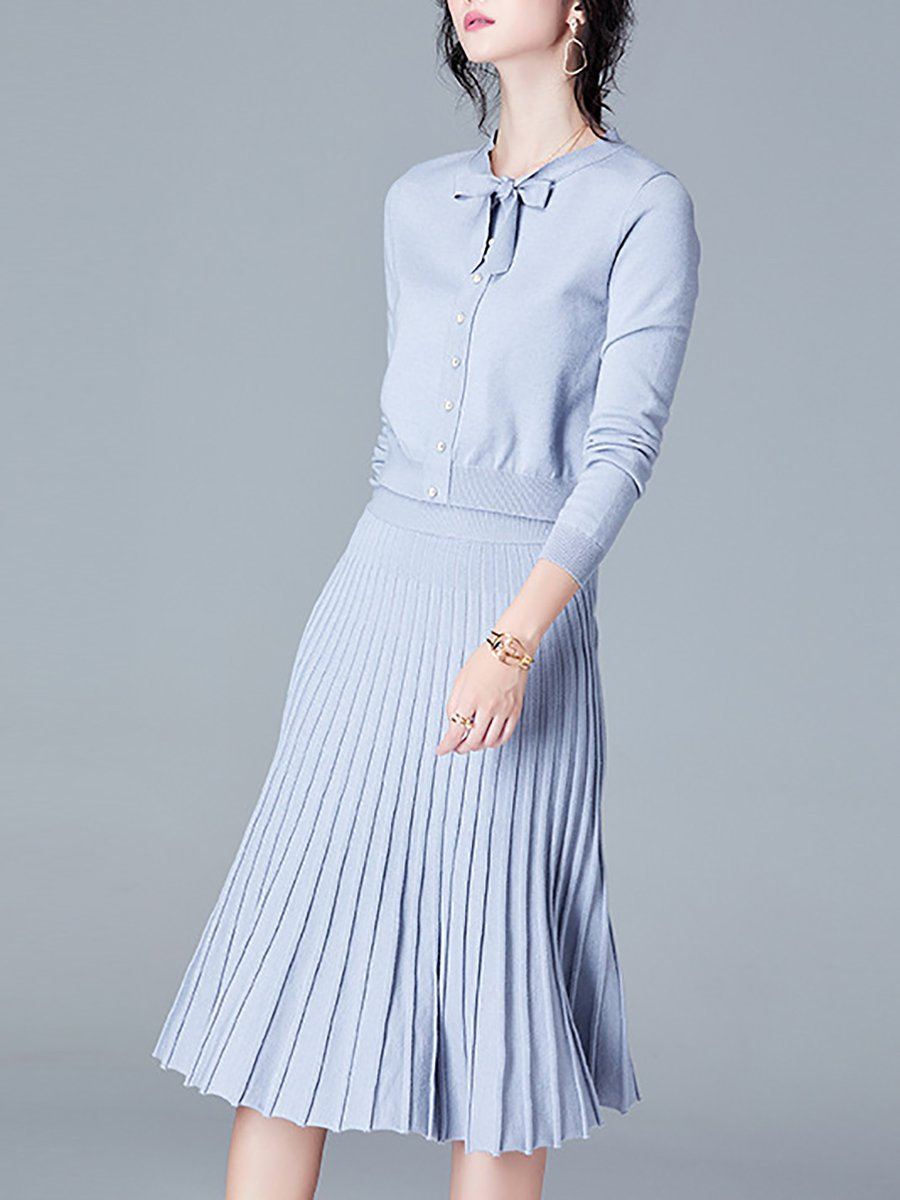 Stylewe And Just Fashion Now: Tie-neck Long Sleeve Casual Top With Skirt