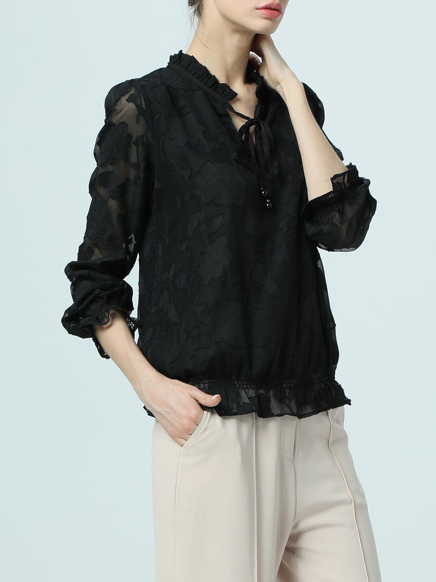 3fd0db864dde2b Black Long Sleeve Casual Paneled See-through Look Tie-neck Solid ...