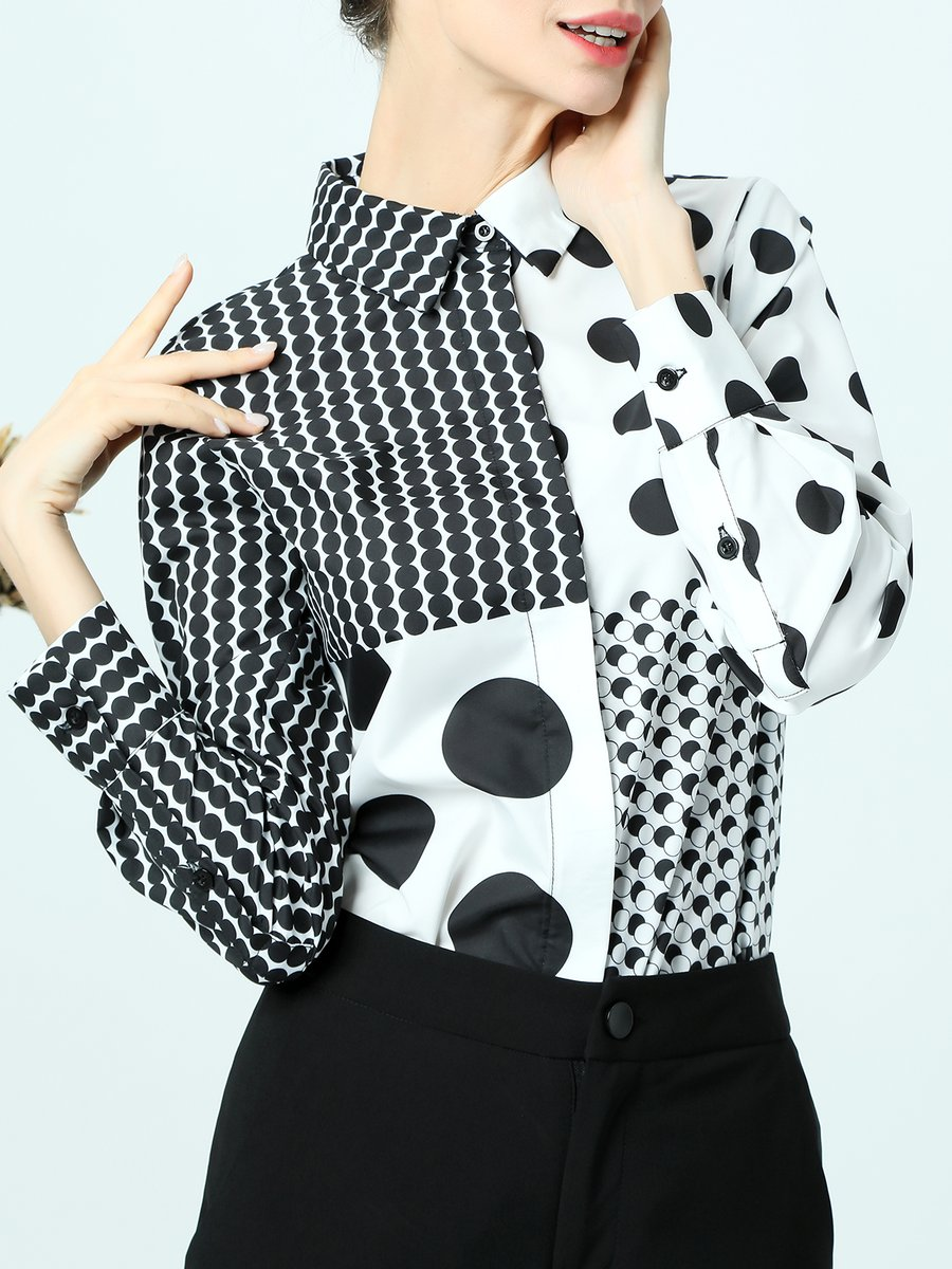 Black White Shirt Collar Polka Dots Buttoned Printed Color Block