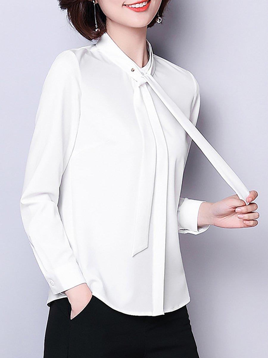 Long Sleeve Chiffon Blouse