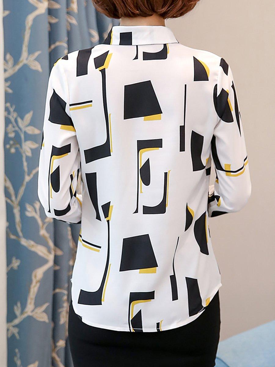 Stylewe Long Sleeve White Dark Blue Women Blouses For Work Shirt