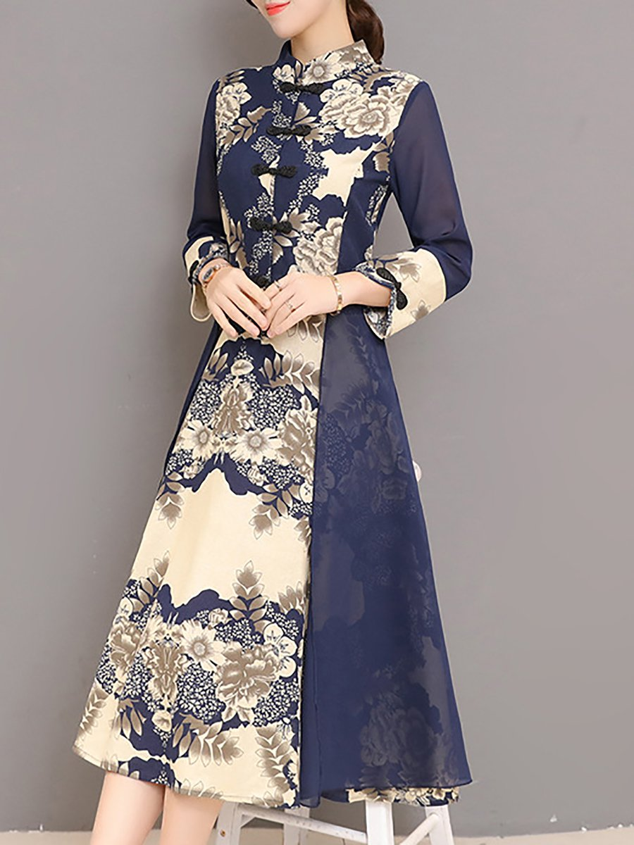 46be54ad6520 Stand Collar Navy Blue A-line Daytime Casual Cotton Paneled Floral Midi  Dress