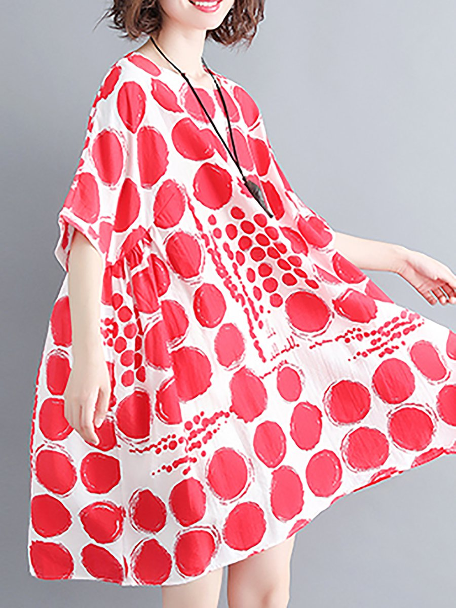 49537d29f6d Printed Linen Dress Shift Short Sleeve Polka Dots Linen Cloth ...