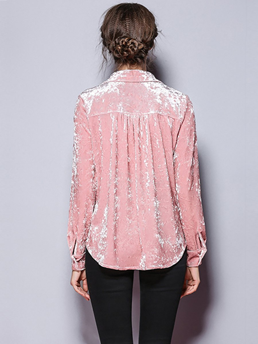Velvet Buttoned Embroidered Shirt Collar Blouse Stylewe