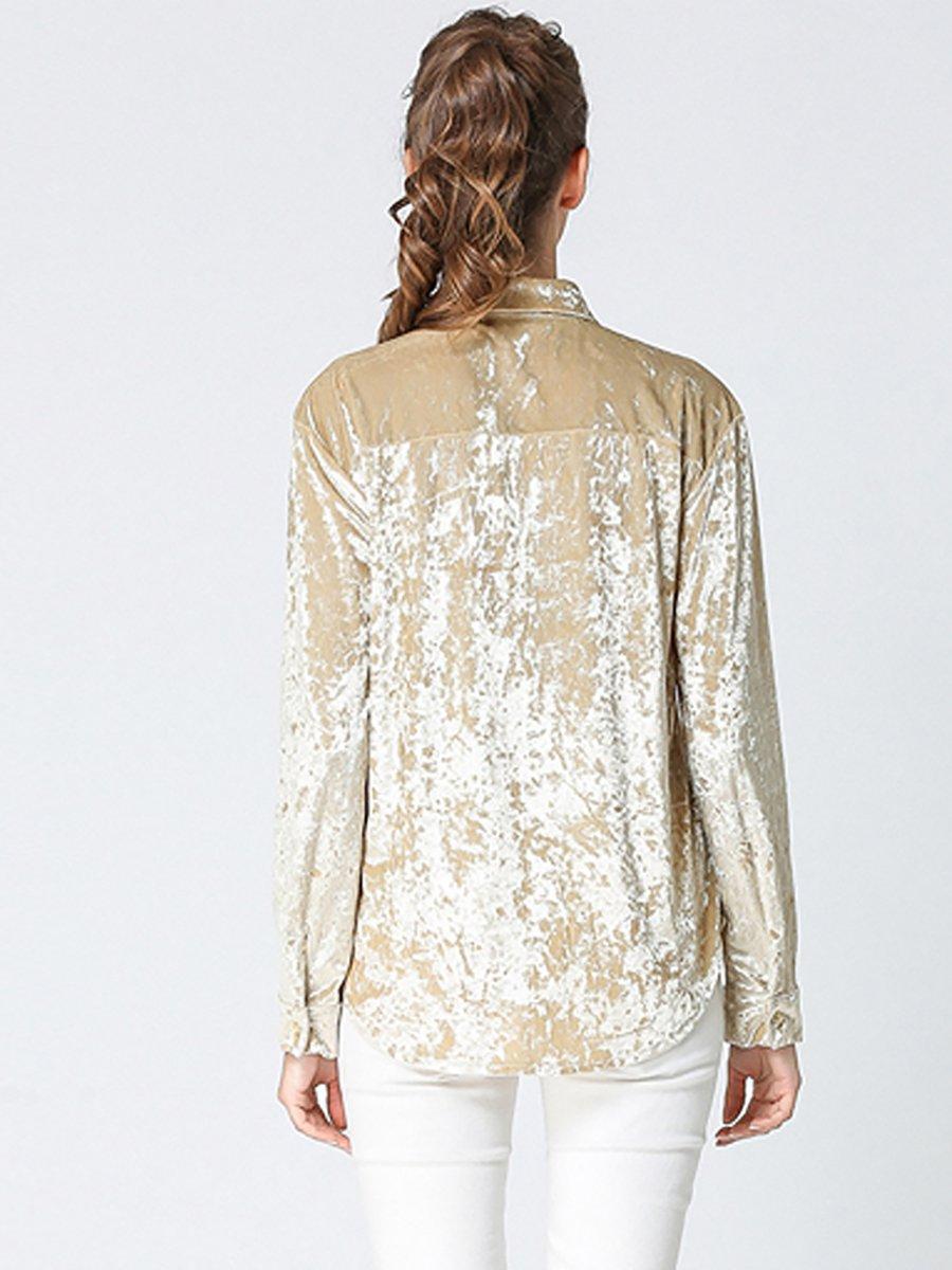 Velvet Shift Buttoned Embroidered Shirt Collar Blouse Stylewe