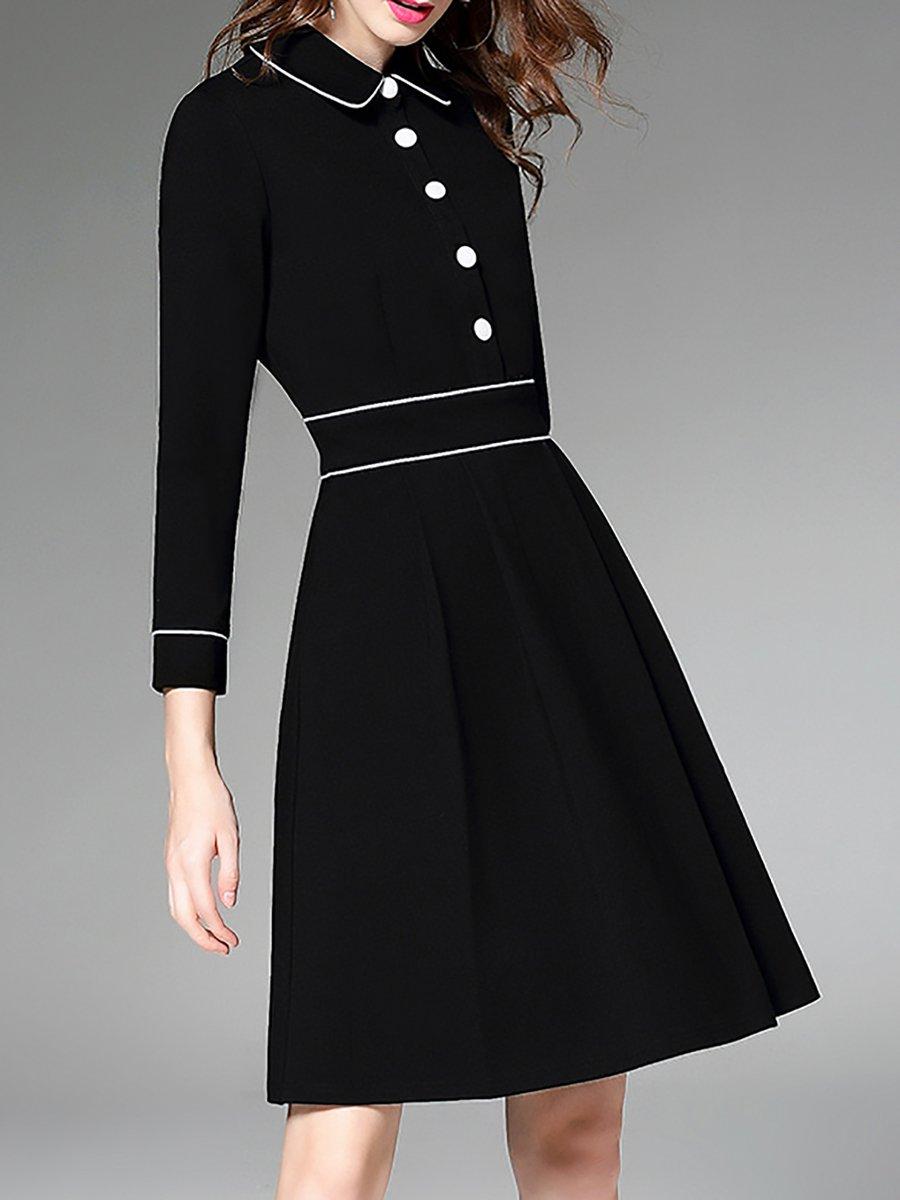 Stylewe shirt collar black midi dress a line daily dress for Midi shirt dress black