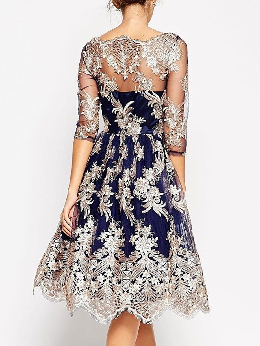 Stylewe And Just Fashion Now: Stylewe Blue Midi Dress A-line Dress 3/4 Sleeve Vintage