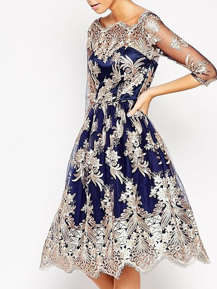 dfe5acf8d2 Blue A-line Party Vintage 3/4 Sleeve Embroidered Evening Midi Dress