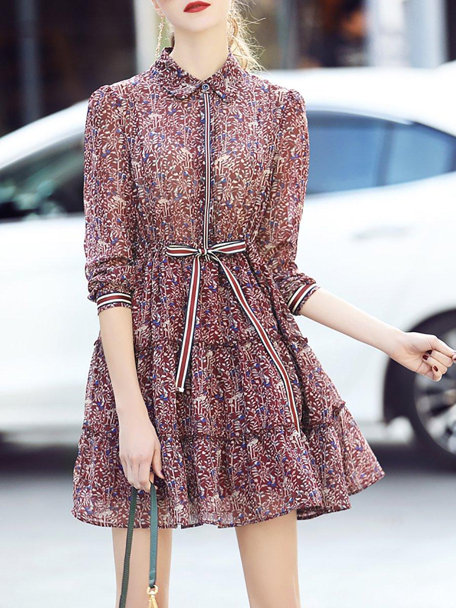 6d71c00fc57a Stylewe Shirt Collar Mini Dress Blouson Dress 3 4 Sleeve Bow Floral ...