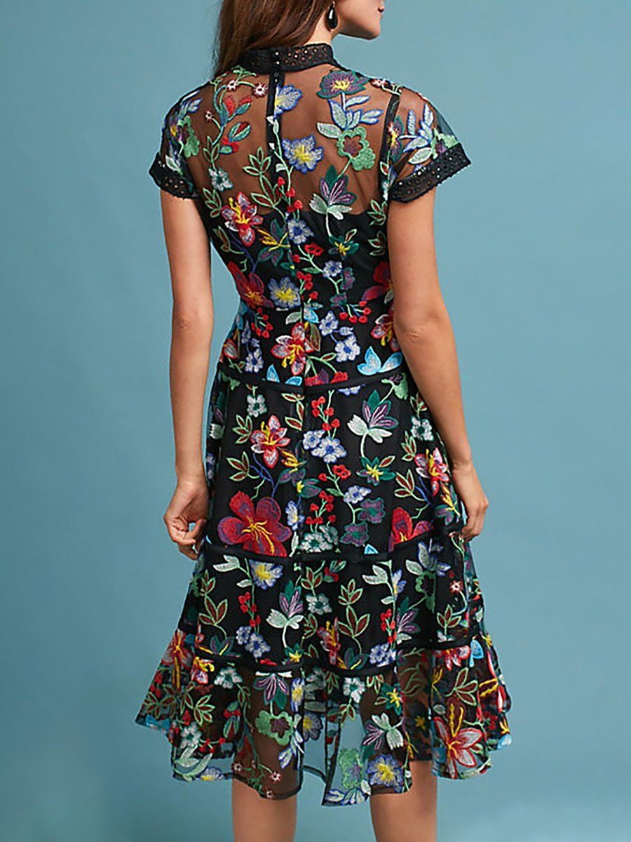 Stylewe Casual Dresses Floral Dresses Daytime A Line Stand