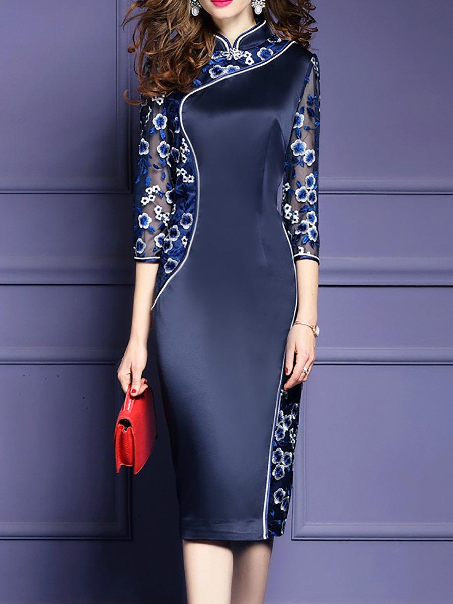 c03a6f3e1442 Stylewe Plus Size Stand Collar Navy Blue Midi Dress Bodycon Daytime ...