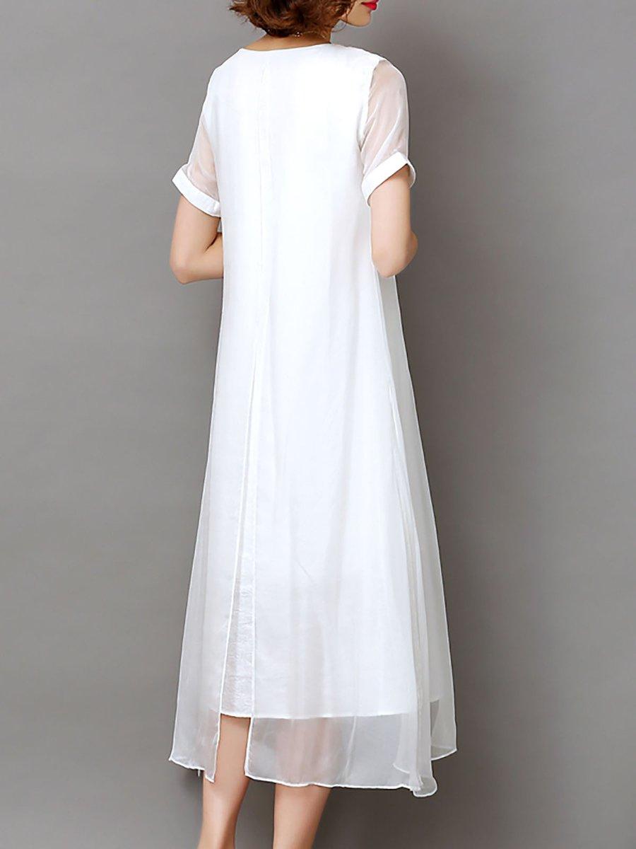 Daily Vintage Short Sleeve Paneled Midi Dress