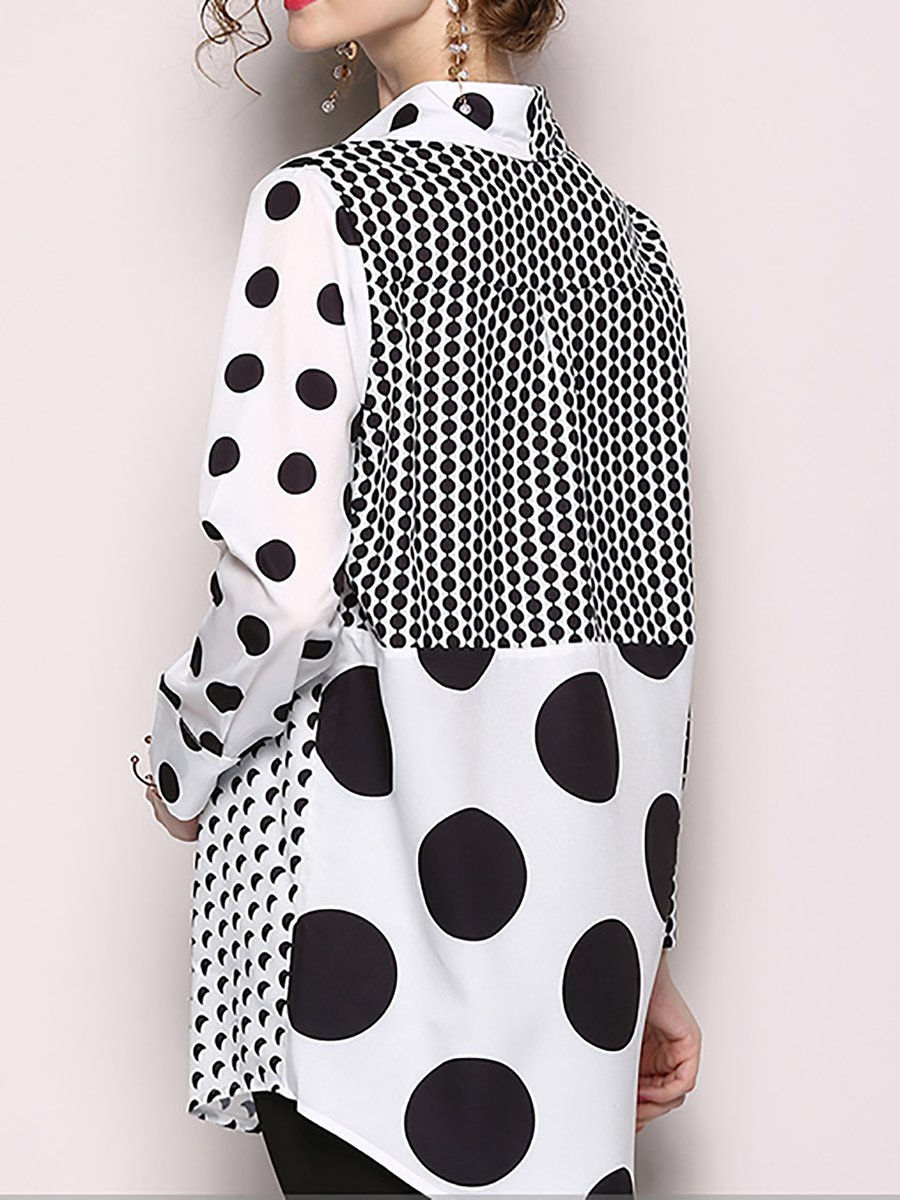 f21105648b62 Black Shift Casual Polka Dots Paneled Long Sleeve Tunic - StyleWe.com