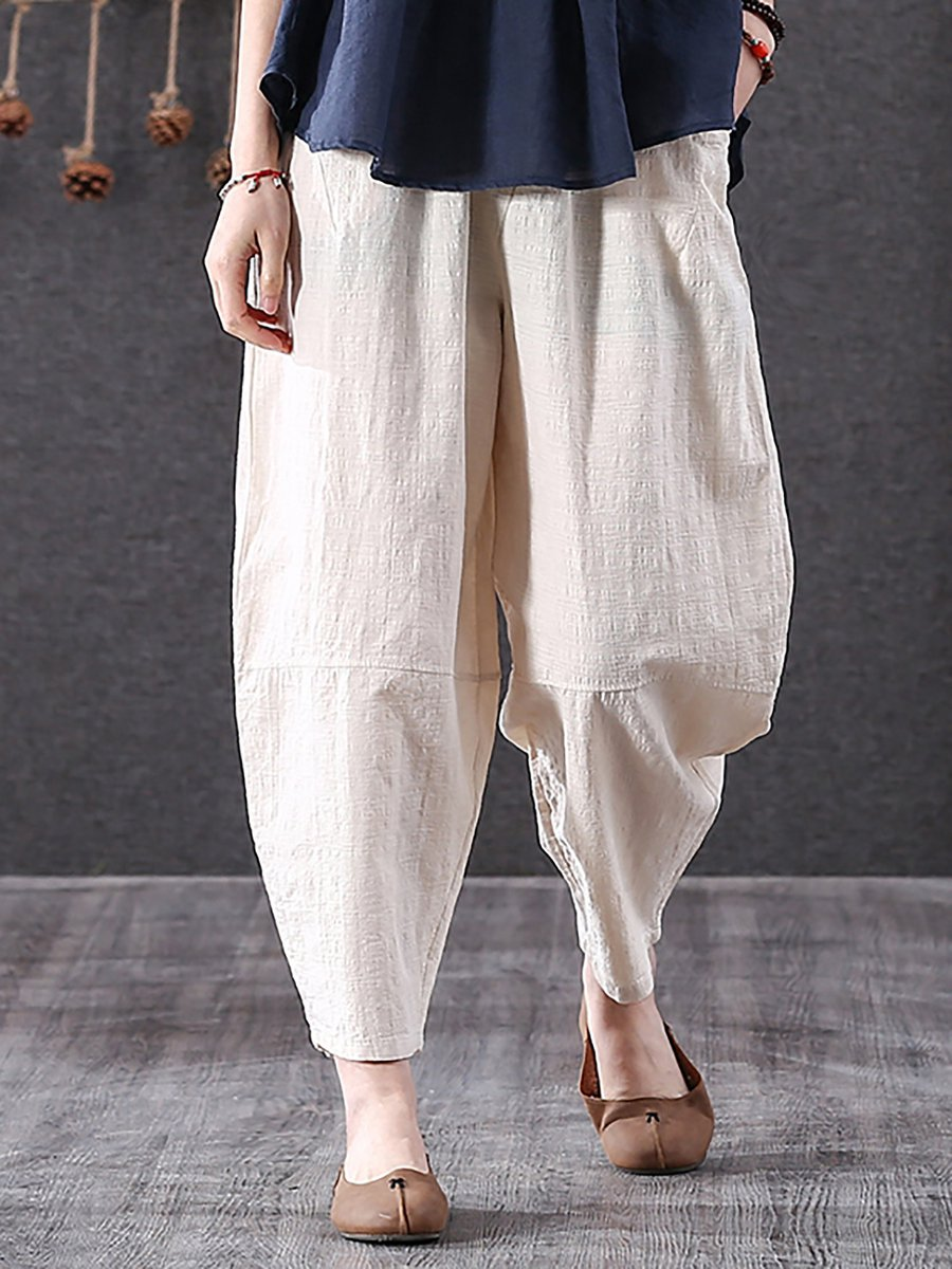 Casual Solid Cotton Shift Linen Pants Stylewe Com
