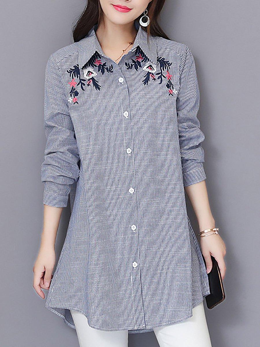 Casual Shift Long Sleeve Blouse Stylewe Com