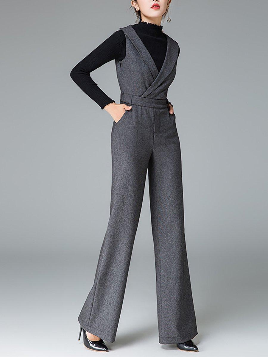 3a6f37f05c90 Sleeveless Shawl Collar Pockets Work Jumpsuit